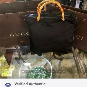 Auth Gucci Bamboo Nylon Handbag